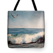 Seagull With Wave  Tote Bag