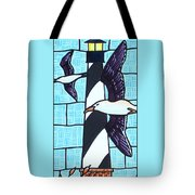 Seagulls And Lighthouse Tote Bag