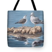 Seagulls In The Sea Tote Bag