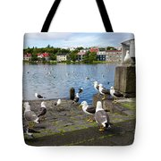 seagulls near a pond in the center of Reykjavik Tote Bag