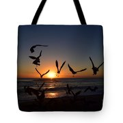 Seagulls Silhouettes Tote Bag