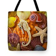 Seahorse And Assorted Sea Shells Tote Bag