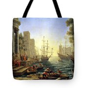 Seaport With The Embarkation Of Saint Ursula  Tote Bag