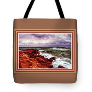 Seascape Scene On The Coast Of Cornwall L B With Alt. Decorative Ornate Printed Frame. Tote Bag