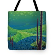 Seascape With Brain Coral And A Blue Striped Grunt Tote Bag