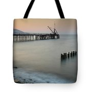 Seascape With Deserted Jetty During Sunset Tote Bag