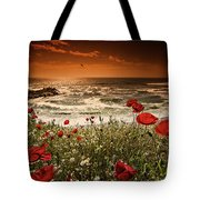 Seascape With Poppies Tote Bag