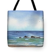 Seascape With Three Rocks Tote Bag