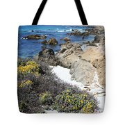 Seaside Flowers And Rocky Shore Tote Bag