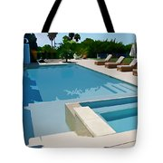 Seaside Swimming Pool As A Silk Screen Image Tote Bag