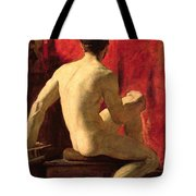 Seated Male Model Tote Bag by William Etty