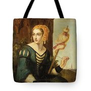 Seated Noble Lady With Distaff Tote Bag