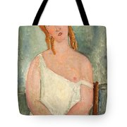 Seated Young Girl In A Shirt Tote Bag