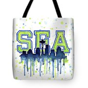 Seattle Watercolor 12th Man Art Painting Space Needle Go Seahawks Tote Bag