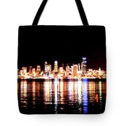 Seattle At Night - From Alki Beach Tote Bag
