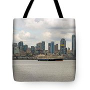 Seattle City Skyline Along Elliott Bay Tote Bag