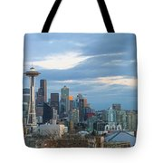 Seattle City Skyline At Dusk Panorama Tote Bag