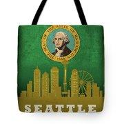 Seattle City Skyline State Flag Of Washington Art Poster Series 017 Tote Bag