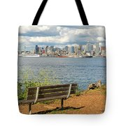 Seattle City Skyline View From Alki Beach Tote Bag