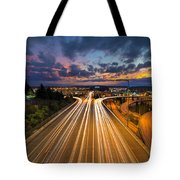 Seattle Freeway Light Trails Tote Bag