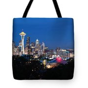 Seattle Panorama At Twilight Tote Bag
