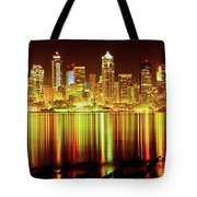 Seattle Panorama Reflection In Elliot Bay Tote Bag by Tim Rayburn