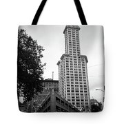 Seattle - Pioneer Square Tower Bw Tote Bag