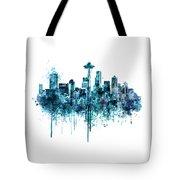Seattle Skyline Monochrome Watercolor Tote Bag