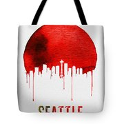 Seattle Skyline Red Tote Bag