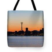 Seattle Skyline Silhouette At Sunrise Tote Bag