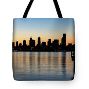 Seattle Skyline Silhouette At Sunrise From The Pier Tote Bag