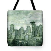 Seattle Skyline Watercolor Space Needle Tote Bag