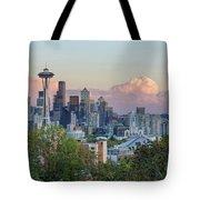 Seattle Washington City Skyline At Sunset Tote Bag
