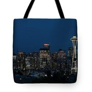 Seattle Washington Space Needle And City Skyline At Night Tote Bag