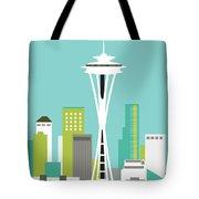 Seattle Washington Vertical Skyline - Teal Tote Bag