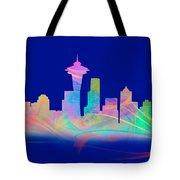 Seatttle Skyline Rainbow Watercolor Tote Bag