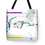 Seaweed Fish Illustration Tote Bag