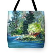 Secluded Boathouse-millsite Lake  Tote Bag by Jan Byington