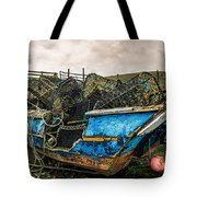 An Old Boat Turned In A Fyke Storage Place. Second Life.i Found This Near The Sea In Uig, Scotland. Tote Bag
