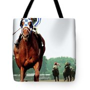 Secretariat Winning The Belmont Stakes, Jockey Ron Turcotte Looking Back, 1973 Tote Bag