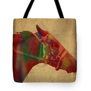 Secretariat Horse Race Watercolor Portrait Tote Bag