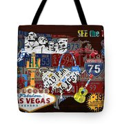 See The Usa Vintage Travel Map Recycled License Plate Art Of American Landmarks Tote Bag
