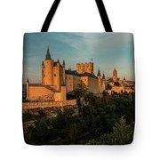 Segovia Alcazar And Cathedral Golden Hour Tote Bag