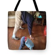 Self Portrait 8 - Downward Dog With Grandson Max On His 2nd Birthday Tote Bag