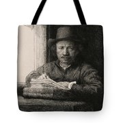 Self-portrait Drawing At A Window Tote Bag