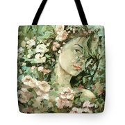 Self Portrait With Aplle Flowers Tote Bag