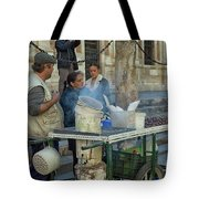 Selling And Roasting Chestnuts Tote Bag