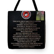 Semper Fi To The 1st Man Down In Iraqi Freedom Plaque Tote Bag