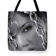 Sensual Woman Face Behind Chains Tote Bag
