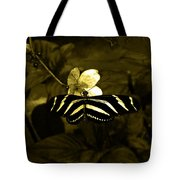 Sepia Butterfly And Flower Tote Bag